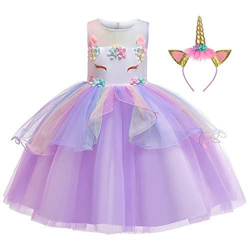 LZH Mädchen Einhorn Party Kleid Blume Rüschen Cosplay Geburtstag Prinzessin Kleid (Tutu Kostüm Für Jugendliche)