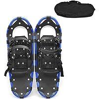 LJXiioo Kit de Raquetas de Nieve para Terreno Ligero de aleación de Aluminio de 22 Pulgadas con Bolsa de Transporte, Fijaciones Ajustables para Hombres, Mujeres y jóvenes,Azul