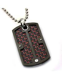 Acero Inoxidable Colgante Placa de Identidad Dog Tag Tornillo con Rojo / Negro Carbono Embutido de la Fibra