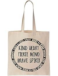 Finest Prints Kind Heart Fierce Mind Brave Spirit Round Design Cotton  Canvas Tote Bag 87ad65db312