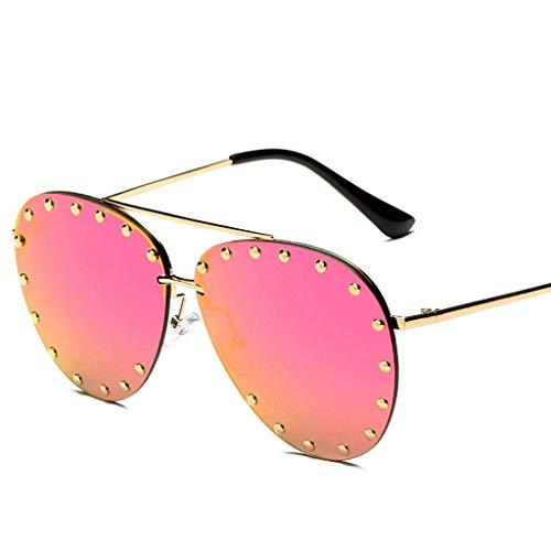 DX Rahmenlose Europa und die Vereinigten Staaten Unisex Rivet Fashion Polarized Shade Brille (Farbe: PINK)
