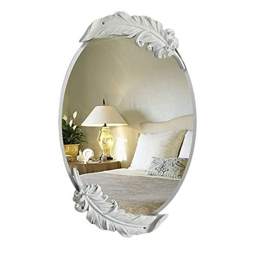 Europäische Badezimmer Wandbehang Runde Spiegel Feder Box Kosmetikspiegel Schlafzimmer Dekorative Spiegel Schminktisch Spiegel/Kosmetikspiegel A ++ (Farbe: Weiß, Größe: 65x41 cm)