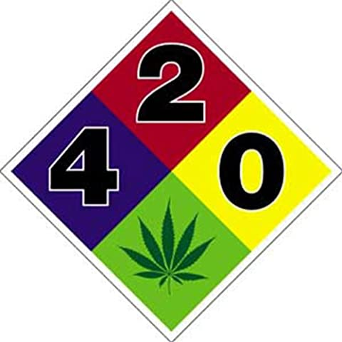 WEED INDEED!! Weed HWY 420 Hazard Sign Rub-On Marijuana Sticker autocollant Officially Licensed Marijuana Weed Pot / Pop Culture Artwork Création, 4'' x 4'' - Long Lasting Sticker autocollant DECAL L'AUTOCOLLANT - Marijuana Weed Pot