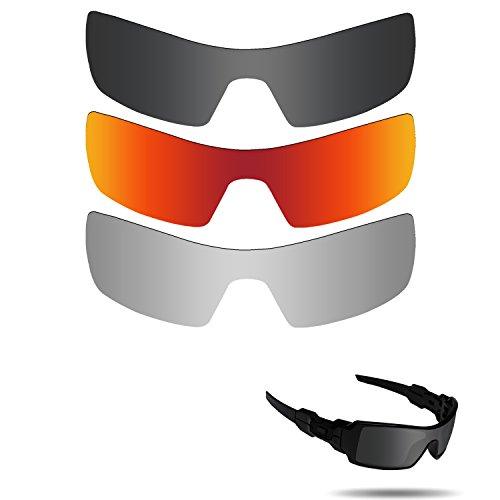 Fiskr Anti-Saltwater Polarisierte Ersatz Gläser für Oakley Oil Rig Sonnenbrille 3Paar Pack, Stealth Black & Metallic Silver & Fire Red