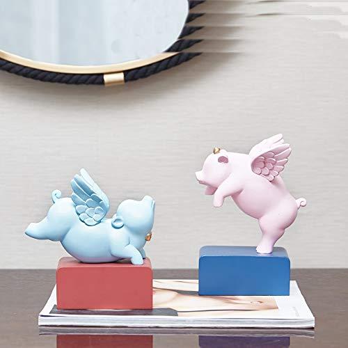 DAJIADS Statuen,Niedliches Kleines Schwein Mit Flügeln Statue Haben Traum Von Flying Pig Home Furnishings (Flügel Haben Schweine)