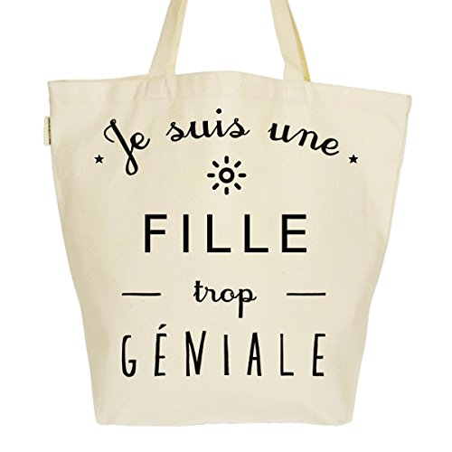 Grand Sac Cabas Fourre-tout Imprimé Toile Bio 37x45x20cm Tote Bag XL - Une fille trop géniale