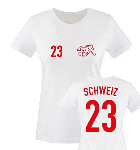 EM 2016 - Trikot - EM 2016 - Schweiz - 23 - Damen T-Shirt - Weiss/Rot Gr. S