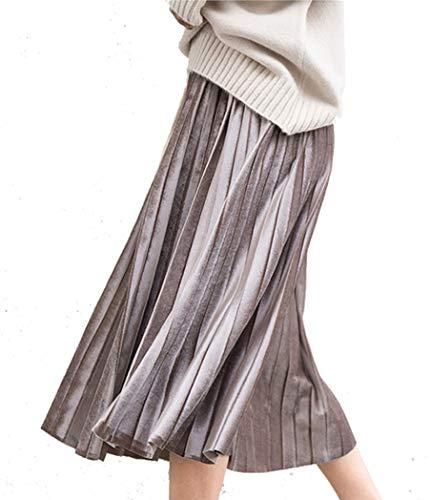 Botanmu Damen Faltenrock Metallic Midi A Linie Hohe Taille Elastische Taille Übergröße (Khaki) - Khaki Pleated Skirt