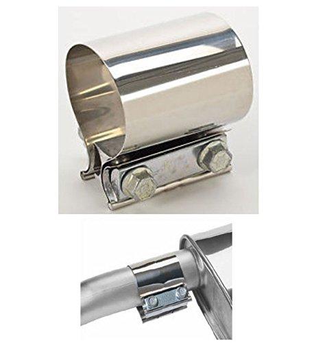 Abrazadera para tubo de escape V2A con conector de 6,35cm, en acero inoxidable, versión resistente