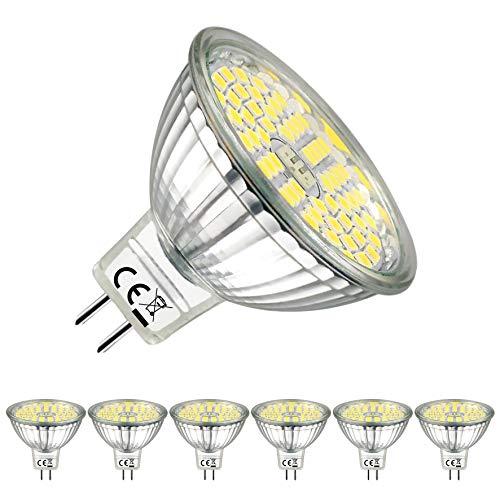 GU5.3 LED Kaltweiss 6000K MR16 LED 12V 5W LED Leuchtmittel Kann perfekten Ersatz für 50W Halogenlampe 500 Lumen LED Lampen EACLL® 120° Abstrahlwinkel LED Birnen, 6er-Pack -