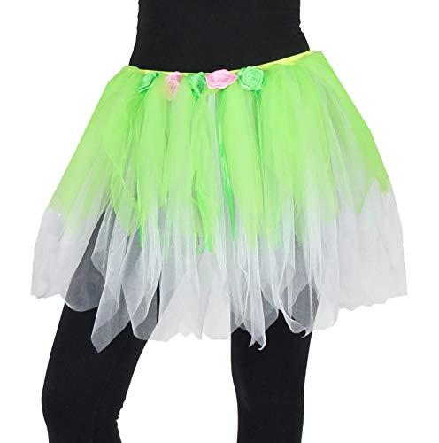 Kostüm Tanz Schnellversand - Foxxeo Deluxe Petticoat Tüllrock Tutu mit Blumen grün Tanz Party Ballett Fasching Kostüm