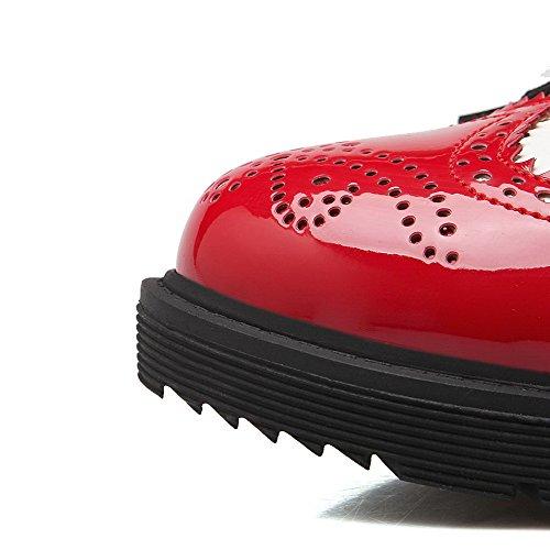 VogueZone009 Damen Schnüren Rund Zehe Niedriger Absatz Pu Leder Gemischte Farbe Pumps Schuhe Rot