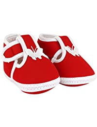 Neska Moda Baby Infant Soft Red Booties-12 cm Length for Age Group 0-12 Months