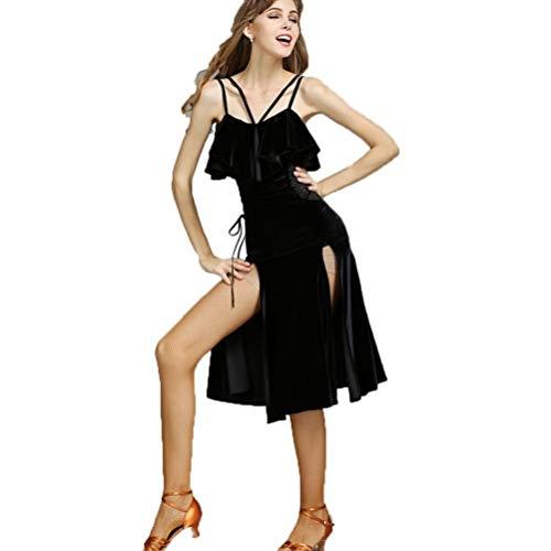 Nähen Muster Kostüm Latin Dance - TFF Samtschlinge Split Slim Latin Dance Kostüm Latin Dance Dress Adult Female (Color : Schwarz, Size : L)