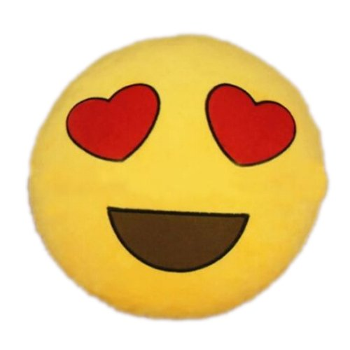 SODIAL(R)Hot nuovo Emoji occhi a cuore Emoticon Cuscino Rotondo casa cuscino peluche Giocattolo Peluche