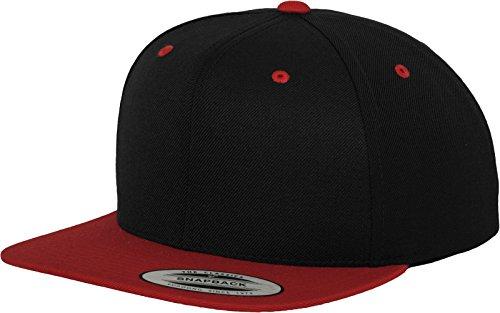 Yupoong Flexfit Unisex Kappe Classic Snapback 2-Tone, zweifarbige blanko Cap mit geradem Schirm, One Size Einheitsgröße für Männer und Frauen, Farbe blk/red (Baseball Sie Wie Eigenes Ihr)
