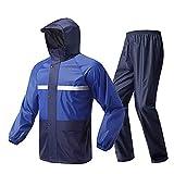 Guyuan Impermeable Pantalones de Lluvia Traje Motocicleta Hombres Mujeres Cuerpo Impermeable Llevar Adulto Caminar Montar Dividir Traje de Agua (Color : Blue, Size : S)