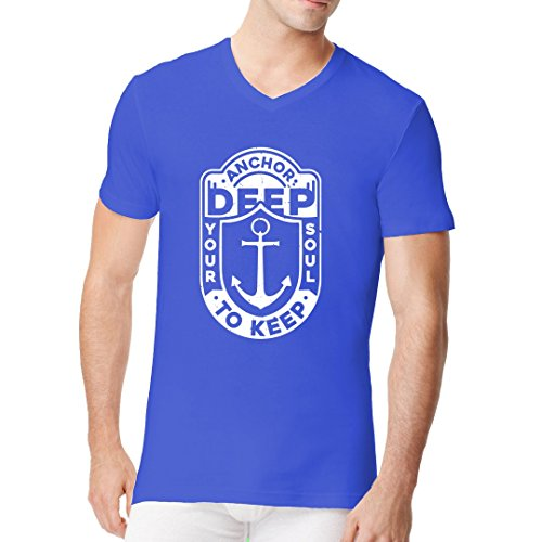 Fun Sprüche Männer V-Neck Shirt - Druck Motiv Anchor Deep by Im-Shirt Royal