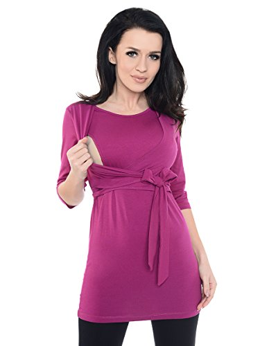 Purpless Maternity 2in1 Schwangerschaft und Pflege 3/4 Arm Wickel Top 7735 Dark Pink