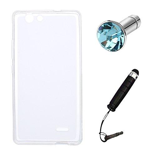 Lusee Silikon TPU Hülle für Oukitel C4 5.0 Zoll Schutzhülle Case Cover Protektiv Silicone halb transparent weiß