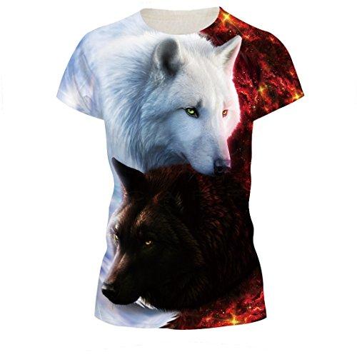 Naruto Paar (SEVENWELL Unisex 3D-Muster Gedruckt Casual Kurzarm Graffiti T-Shirts T-Stücke Männer Frauen Wolf 2XL)