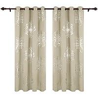 Deconovo Cortina Opaca de Salón Moderno con Flores en Plata Cortias Termicas con Ojales 140 x 175 cm 2 Piezas Beige