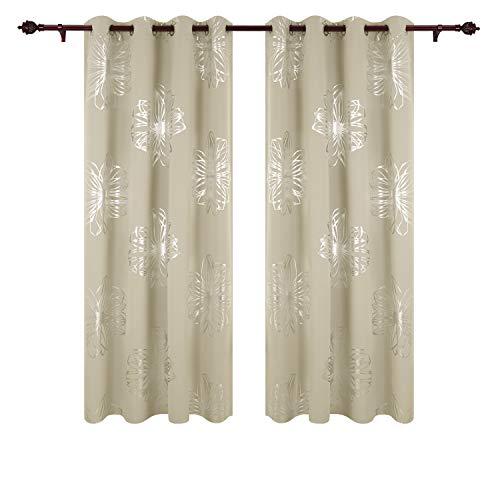 Deconovo Cortina Opaca de Salón Moderno con Flores en Plata Cortias T