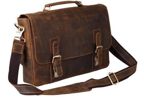peacechaos® Herren Top Schicht echtes Kuh Leder Schulter Aktentasche attache 39,6cm Laptop-Tasche Tote, braun (Braun) - FBA_BC25168