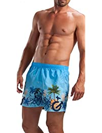 GERONIMO Pantalones Cortos De Natación Para Hombre Azul,Tropical diseño , Shorts De Baño Playa