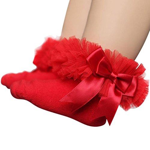 Socken Longra Baby Kinder Mädchen Prinzessin Bowknot Socke Spitze Rüsche Frilly Trim Knöchelsocken(0 -6Jahre) (11.5cm/0-2Jahre, Red) (Baby Kleid Seide)