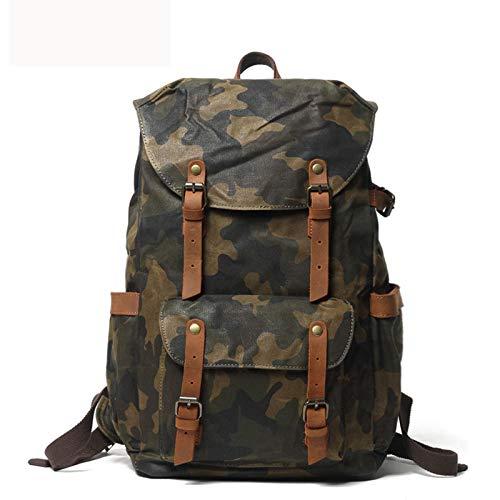 DETZH Grande Laptop Tela Cerata Zaino Uomo Vintage Sacchetto di Scuola Daypack, Satchel un'escursione Zaino di Corsa Esterna Shouder Bag, Camouflage,ArmyGreen