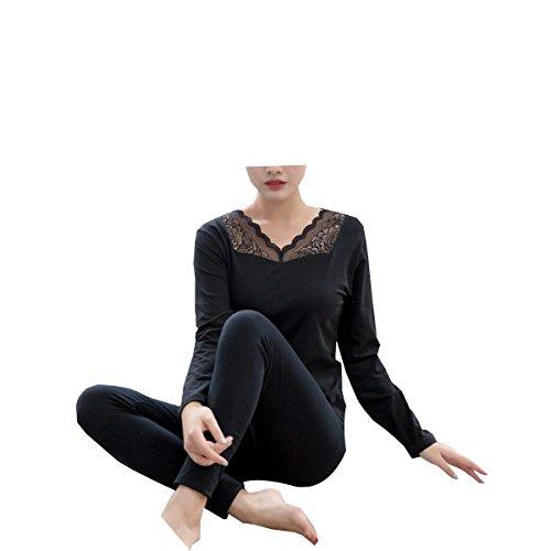 Tang moine, Frauen, V-Ausschnitt, Spitze, Unterwäsche, Anzüge,Black-L(40-57.5KG) | 07703734115424