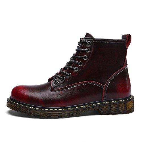 TQGOLD Botas de Hombre Otoño/Invierno Botines de Cuero (39 EU,Rojo)