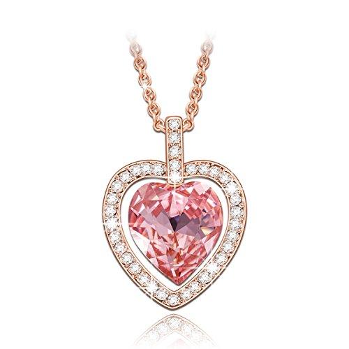 Lady colour Tavarua Coeur Collier Femme cristaux de Swarovski rose bijoux cadeau anniversaire fete des meres idee cadeau noel cadeau saint valentin amoureux