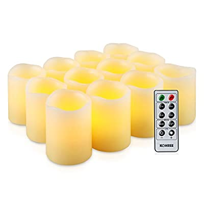 LED Candles with Timer, Kohree Flameless Votive Candles Battery Powered Candles, Perfect for Weddings, Christmas, Funerals, Souvenirs, Dia, 5-Hours-ON 19-Hours-OFF Daily Cycle Timer (Pack of 12) from Kohree