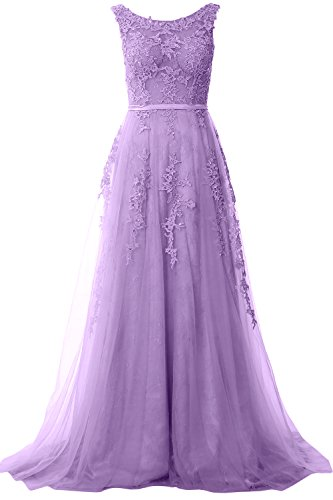 MACloth Women Boat Neck Lace Long Prom Dress Vintage Wedding Party Formal Gown Lavendel