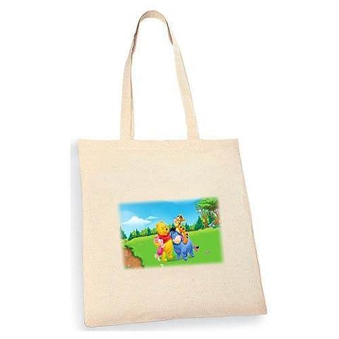 Winnie The Pooh Tote bag. Beige cotton bag, Cotton Tote