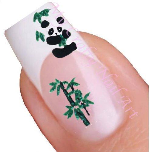Panda noir et vert adhésif arbre adhésifs autocollants pour nail art