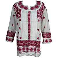 Woman's Bohemian Tunic Cotton Floral Chikan Embroidered Top Blouse Dress