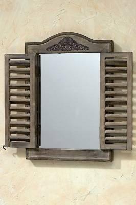 KUHEIGA Spiegel mit Ornament u. Klappladen aus Holz Wandspiegel