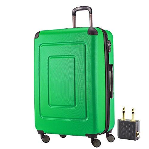 Happy Trolley - Hartschalen-Koffer Koffer Trolley Rollkoffer Reisekoffer Lugano, sehr leicht + stabil, TSA, 76 cm, 113 Liter + LogiLink® Flugzeug Audio Adapter, Grün