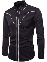 Yvelands Liquidación Casual Shirts Camisa de Manga Larga de Moda de otoño  Hombres Camisa de Solapa 31f9cb7041dd