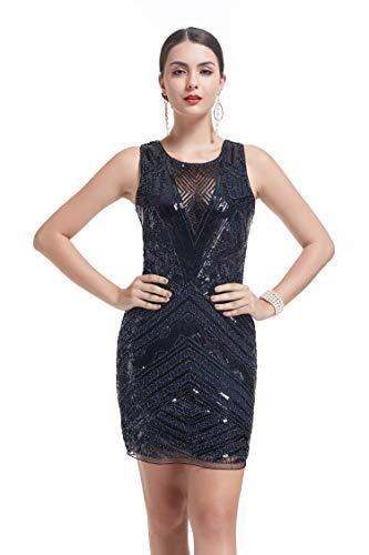 KILOLONE 1920 Flapper Kleid Mesh Patchwork Sexy rückenfreie Pailletten Fringe Perlen Kostüm Kleider Fancy Fringe