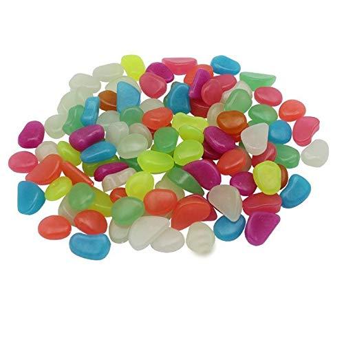 MTB Leuchtsteine im Dunkeln leuchtende Kieselsteine für den Garten, Gehweg, Auffahrt, Aquarium, Dekoration Solarenergie, leuchtende Steine in Mehreren Farben, 200 Stück