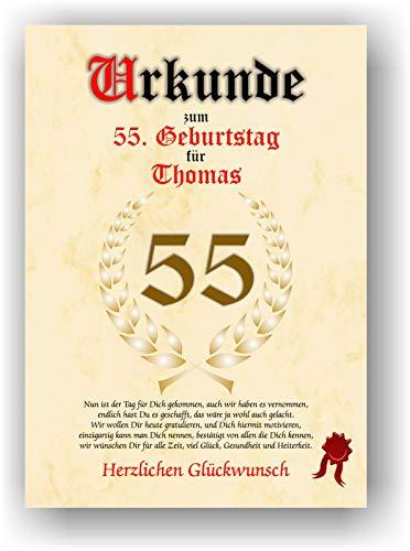 Urkunde zum 55. Geburtstag - Glückwunsch Geschenkurkunde personalisiertes Geschenk Gedicht Grußkarte Geschenkidee mit Spruch DIN A4