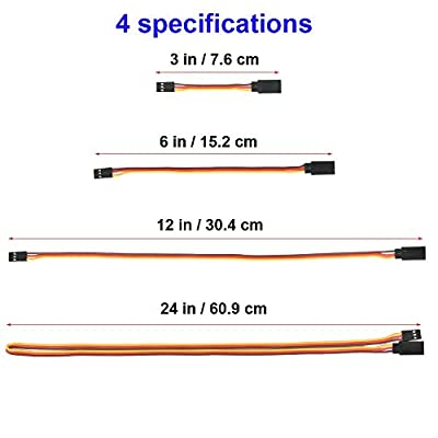 "TOOHUI 3"" 6"" 12"" 24"" JR Style Servo Extension, Servo Cables, 3Pin Extension Cable 22AWG 60 Cores Wire Male to Female Futaba JR for Remote Control Aircraft, 4 Sizes, 3 each"