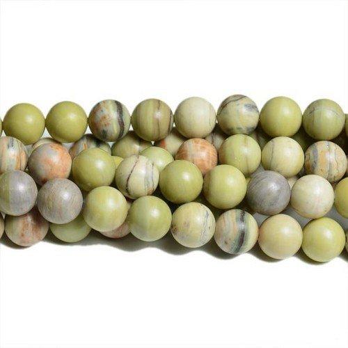 Strang 60+ Blasse Grün/Gelb Talg Jade 6mm Rund Perlen - (CB32094-2) - Charming Beads