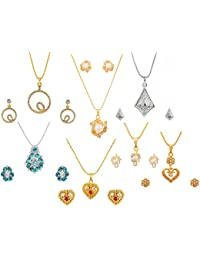 Touchstone Multicolour Youth Desire Combo Of Seven Pendant Sets For Women