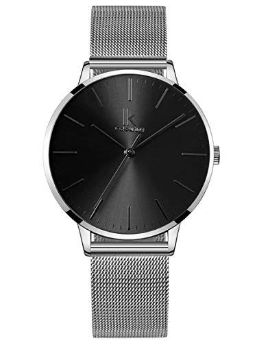 Alienwork Damen-Armbanduhr Quarz Silber mit Metall Mesh Armband Edelstahl schwarz Ultra-flach dünn