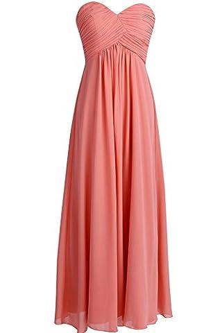 Tiaobug Damen Kleider elegant Abendkleid festlich Hochzeit Cocktailkleid Chiffon Faltenrock langes Brautjungfernkleid Gr. 34-46 Koralle 42 (Herstellergröße: